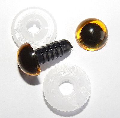 nach EN 71-3 Sicherheitsaugen 9 PAAR HONIG - GELB mit Pupille 10 mm Kunststoff
