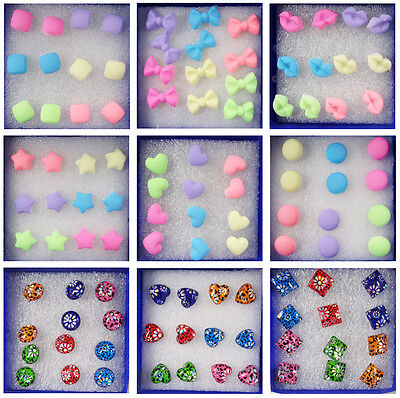 New Fashion Wholesale 6 Pairs Charm Earrings Stud Ear Candy