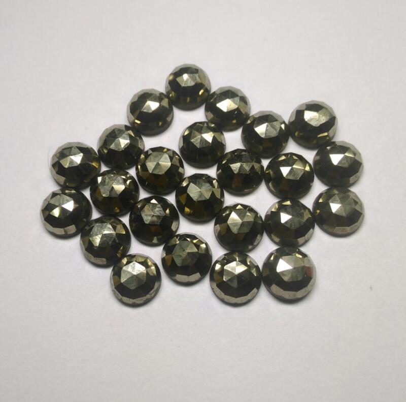 10 pieces 5mm Golden Pyrite Rosecut Round Gemstone, Pyrite AAA Quality Gemstone