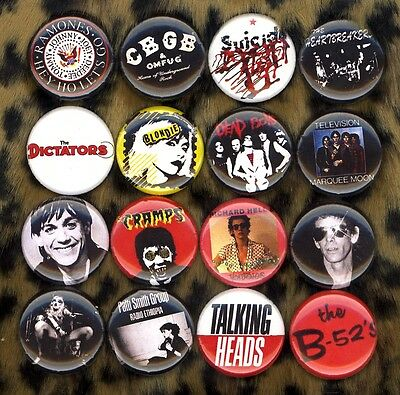 CBGB's x 16 NEW buttons pins badges ramones blondie dead boys lou reed cramps