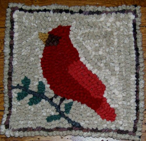 Cardinal  Primitive Rug Hooking KIT WITH #8 CUT WOOL STRIPS