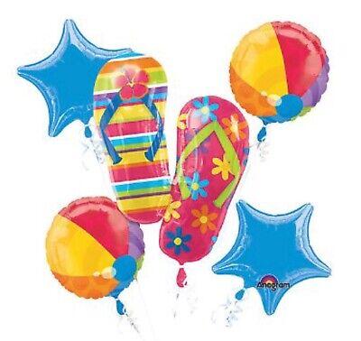 Balloon Flip Flops (5-pc Summer Fun Foil Mylar Balloon Bouquet Flip Flops Beach Balls Pool Luau)