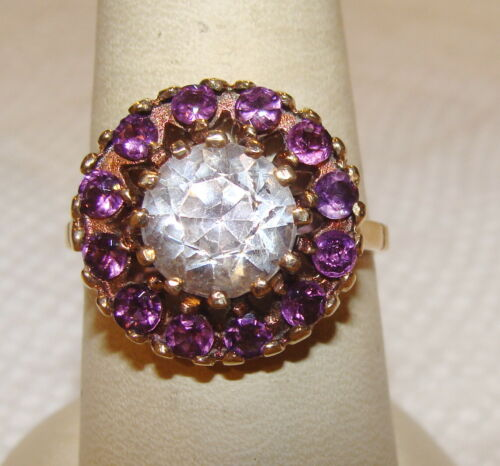 Antique 10k Gold Round Clear Stone & Multi Amethyst Ring Sz 8