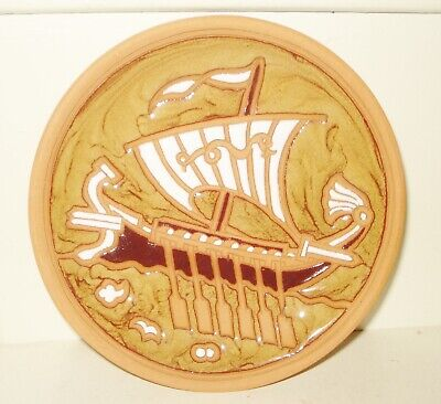 Gold plated Greek terracotta plate hand painted and engraved Classic Period 500 BC copy
