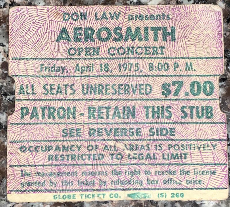 1975 AEROSMITH Foghat Boston Garden Concert Ticket Stub 4/18