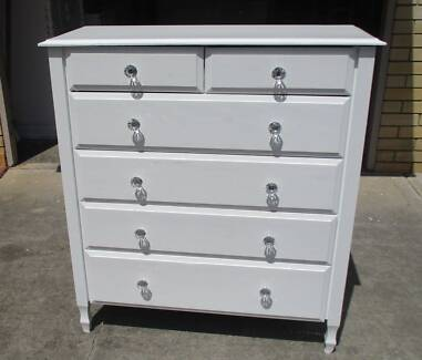 REFURBISHED CHEST OF 6 DRAWERS GLOSS WHITE TALL BOY METAL RUNNERS