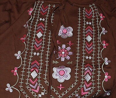 Large NWT $49.99 Women's Roper Embroidered Jersey Poly Peasant SS Top