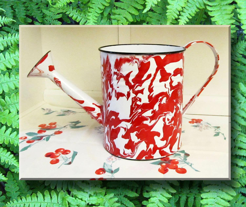 Red Swirl Graniteware Watering Can Enamel Porcelain Vintage