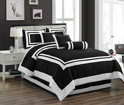 Chezmoi Collection Caprice 7-Piece Black White Square Hotel Style Comforter Set (Black White Contemporary Bedding)