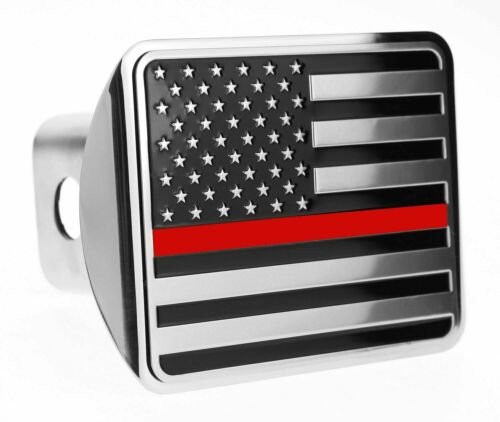 "USA American Flag Chrome Flag Trailer Hitch Cover Fits 2"" Receivers"