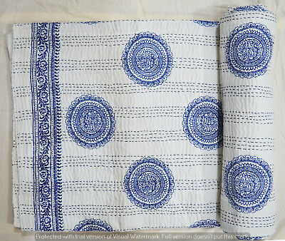 Baumwolle indische Bettdecke Quilt Kantha Hand Block Print Tagesdecke Königin  ()