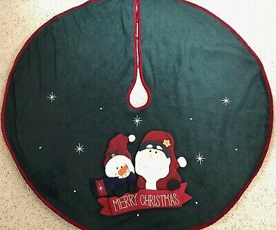 "Merry Christmas Tree SKIRT Flannel 3D Snowman Santa Plush Face Red Green Tie 48"""