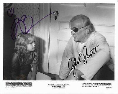 Drew Barrymore   George C Scott Firestarter Autographed 8 X 10 Signed Photo Coa