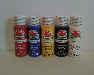 Apple Barrel - Acrylic Art Craft Hobby Primary Colors Paint Set (5pcs) Matte