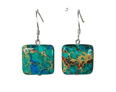 Außergewöhnliche Ohrringe aus mehrfarbigem Meeressediment-Jaspis in Quadratform