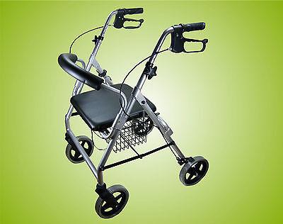 Luxus Rollator Leichtgewicht, Stockhalter, Einkaufskorb und Rückenlehne Silber!