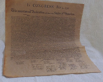 Declaration Of Independence Parchment Paper Us History 23 X 29