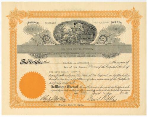 Rico Mining Company. Stock Certificate. Colorado. 1911