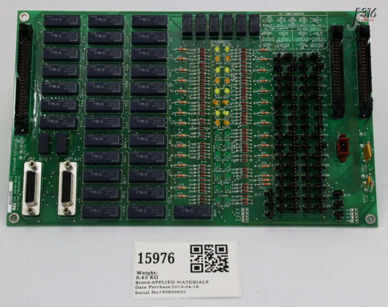 15976 Applied Materials Pcb Assembly, Incompatible Gas Interlock 0100-00308