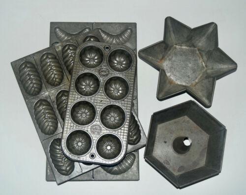 5 Vintage Tin Baking Molds