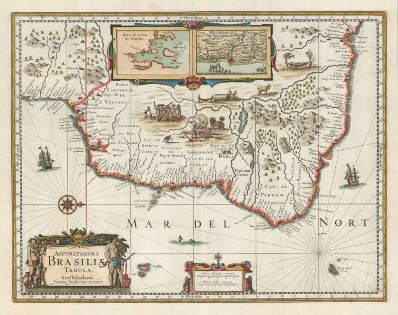 1644 Jansson Map of Brazil during Dutch-Portuguese Wars