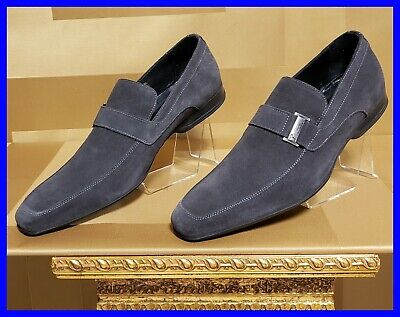 NEW VERSACE COLLECTION GRAY SUEDE LEATHER LOAFER SHOES  42 - 9