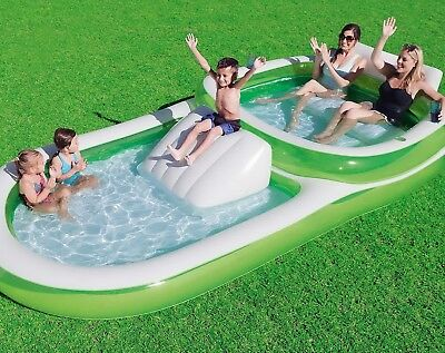 Kids Inflatable Spatter Pool Family Size Swimming Play 12' x 6' Slide & Seats