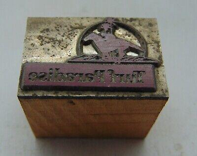 Vintage Printing Letterpress Printers Block Running Horse Turf Paradise Logo