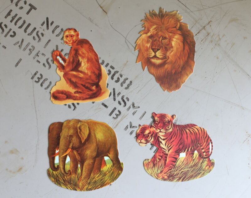 4 Vintage Jungle Animal Gift Tags with Gold Ties - Elephant Tiger Lion Monkey