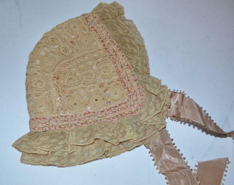 Victorian Antique Lace bonnet SILK LINED