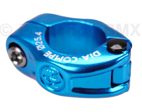 """Dia-Compe MX hinged old school BMX bicycle seat post clamp - 25.4mm (1"""") BLUE"""