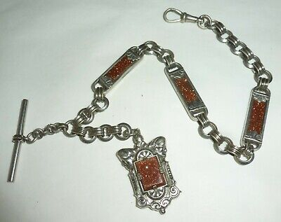 Vintage Victorian Silver Tone Pocket Watch Chain Fob T Bar Goldstone
