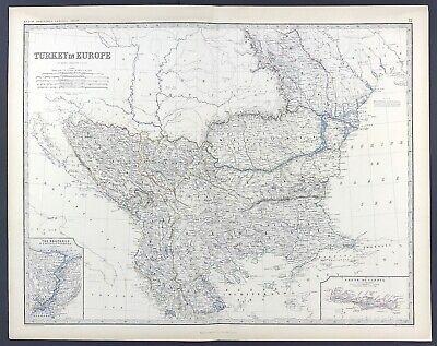 Large Antique Map of Turkey in Europe c1869 Keith Johnston Royal Atlas