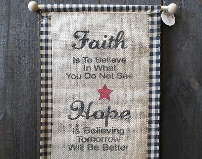Primitive Burlap & Plaid Cloth Sign Country Rustic Wall Hanging Faith Hope Love
