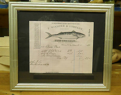Framed 1883 Bill/Letterhead  Of Sale  F. Wooster & Company Fish And Salt