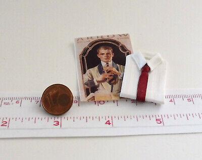 Krawatte, Weißes Hemd (4801# Miniatur Weißes Herrenhemd m. Krawatte - Puppenhaus-Puppenstube - M 1zu12)