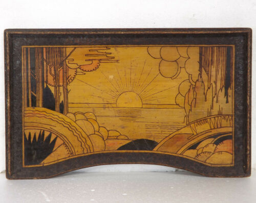 Art Deco Bed Tray - Pokerwork - Carved