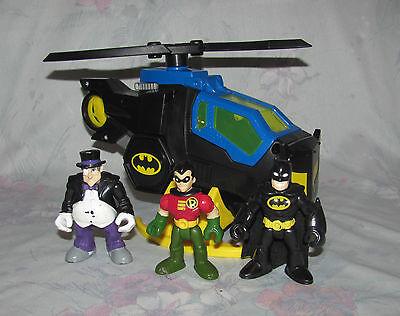 Fisher Price Imaginext Batman Batcopter Helicopter, Penguin, Robin Figures
