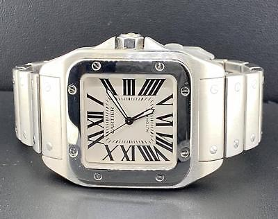 Cartier Santos 100 Large Roman Dial Ref. W200737G Stainless Steel (Large Automatic Steel White Dial)