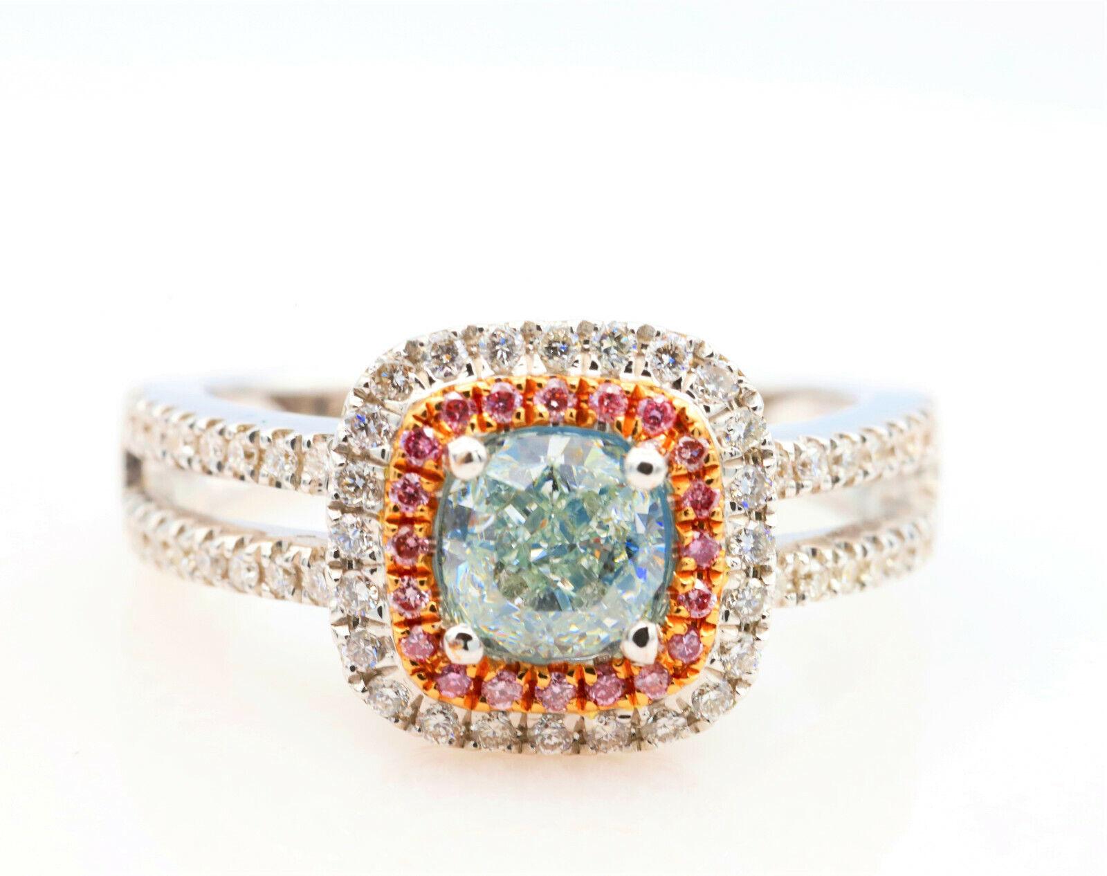 1.50ct Natural Fancy Light Green Argyle ntense Pink Diamonds Engagement Ring GIA