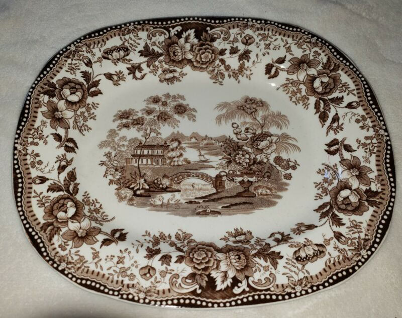 Tonquin Royal Staffordhire Platter England Brown Transferware Tray