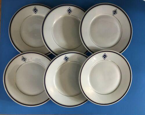 """6 Vintage Restaurant Ware Lunch 10"""" Dinner Plates Shenango Navy & Gold Bands"""