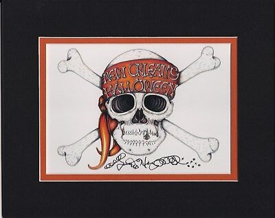 NEW ORLEANS HALLOWEEN SKULL Jamie Hayes MATTED, 8X10, SIGNED GICLEE - New Orleans Halloween