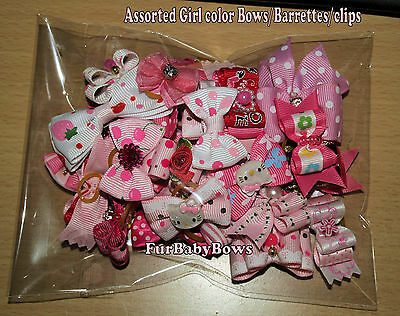 30 Pink Dif Yorkie Dog Grooming bow ShihTzu Poodle Maltese Puppy hair clips band