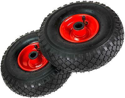 2 Räder Bollerwagenrad Sackkarren Rad 260mm /3.00-4 Luftrad Metall Felge rot
