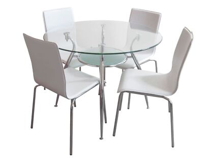 Bentax 5pc WHITE Round Glass Dining Table Setting