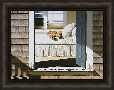 HOME AGAIN by Zhen-Huan Lu 19x24 Golden Retriever Dog Sleeping Bed FRAME PICTURE