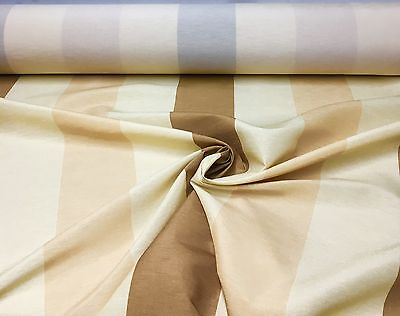 LUXURIOUS CREAM BROWN POLYESTER SILK CURTAIN FABRIC 15 METRES