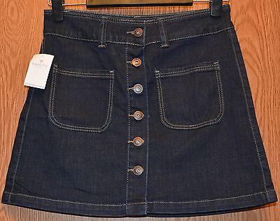 Womens Short Dark Denim Vanity Flat Front Skirt Size 26 NWT (Flat Front Vanity)