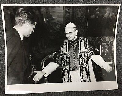 Vintage President John F Kennedy & Pope Paul VI In Rome Original Press Photo E14